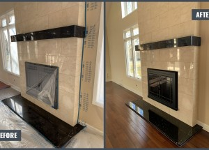Granite and marble fireplace restoration - Honing and polishing