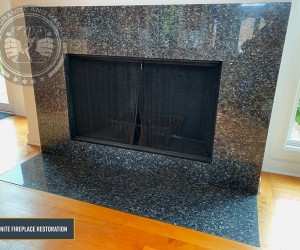 Granite fireplace deep clean, buff and seal