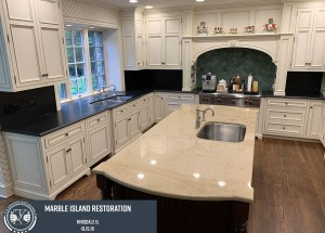 Marble island restoration - Remove etch marks,stain and scratches
