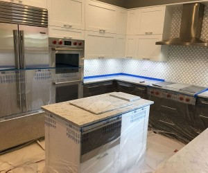 Marble kitchen counter top honing and polishing