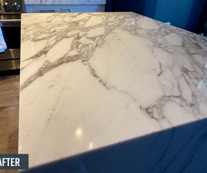 Marble kitchen island after restoration