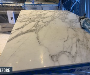 Marble kitchen island before restoration