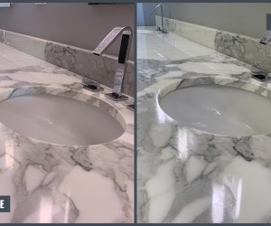 Marble vanity before and after restoration