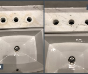 Stain removal from white marble vanity